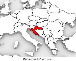 europa, mappa, paese, astratto, croazia, continente, 3d