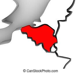europa, mappa, paese, astratto, illustrato, belgio, continente, 3d