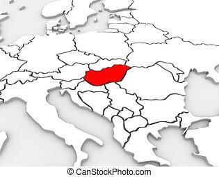europa, mappa, paese, astratto, illustrato, ungheria, continente, 3d