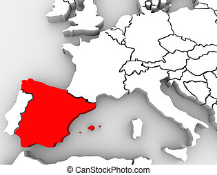 europa, mappa, paese, astratto, nazione, spagna, 3d