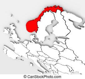 europa, mappa, paese, astratto, norvegia, continente, 3d