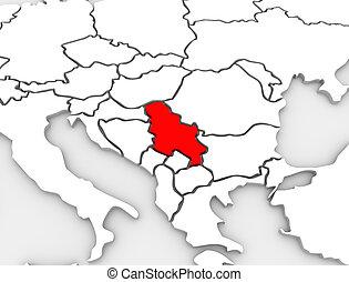europa, mappa, paese, astratto, serbia, illustrato, continente, 3d