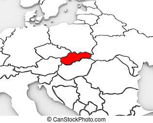 europa, mappa, paese, astratto, slovacchia, continente, 3d