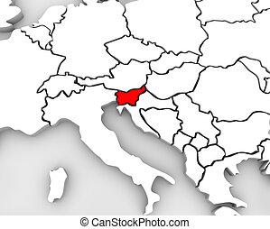 europa, mappa, paese, astratto, slovenia, continente, 3d