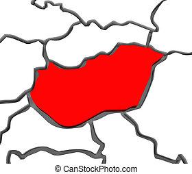 europa, mappa, paese, astratto, ungheria, continente, 3d