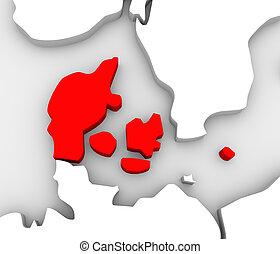 europa, mappa, scandinavia, paese, astratto, danimarca, 3d