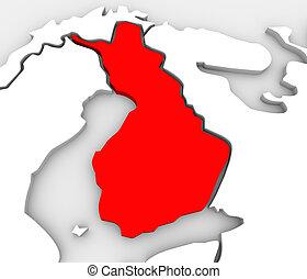 europa, mappa, scandinavia, paese, astratto, finlandia, continente, 3d