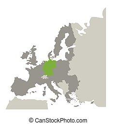 europa, mappa, silhouette, colorare, grayscale, germania, verde