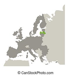 europa, mappa, silhouette, colorare, grayscale, lettonia, verde