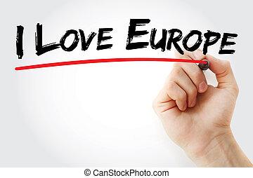 europa, marcador, mano, amor, escritura