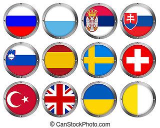 europa, -, marco, metal, banderas, 4, redondo
