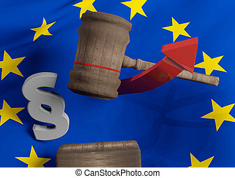 europa, martillo madera, bandera, 3d-illustration, juez