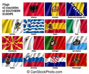europa, meridionale, bandiere, paesi