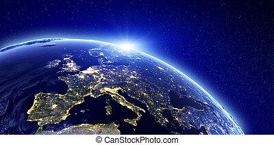 europa, miasto, -, światła