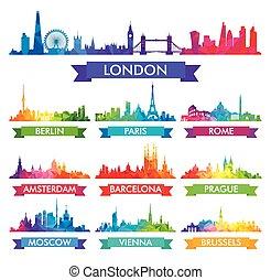 europa, miasto, barwny, ilustracja, sylwetka na tle nieba, wektor