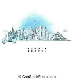 europa, miasto, podróż, pojęcie, sylwetka na tle nieba