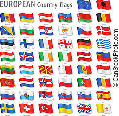 europa, nationale, vector, set, vlag