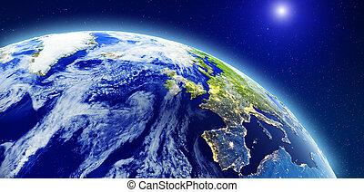 europa, norte, espaço