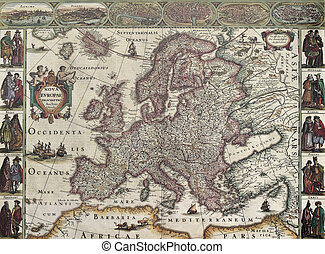 Europa old map. Created by Henricus Hondius, published in...
