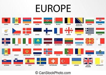 europa, país, alfabético, bandeiras, continente