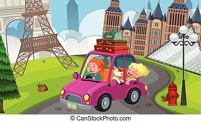 europa, paar, junger, straße reise