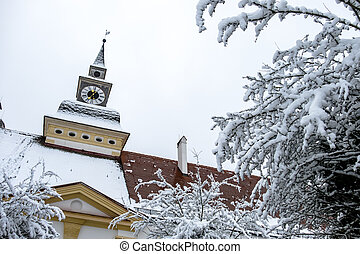 europa, palacio, -, nieve, schleissheim, munich, alemania