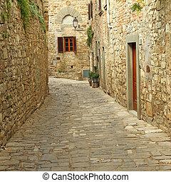 europa, pavimentato, pietra, montefioralle, toscana, pareti,...