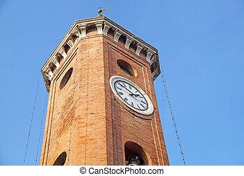 europa, pedra, itália, sino, relógio, ancien, antigas, torre