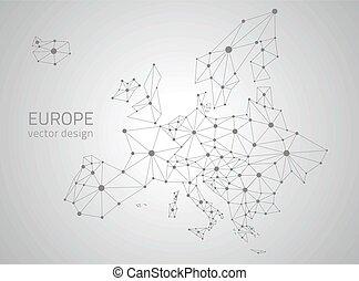 europa, polygonal, wektor, szary, mapa