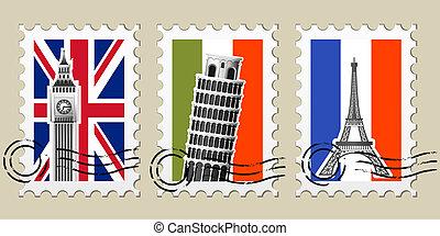 europa, poststempels, postzegels, gezichten, drie