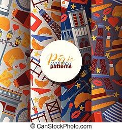 europa, queso, conjunto, ciudad, parís, patrón, ilustración,...