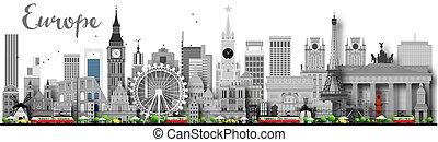 europa, różny, skyline przedstawią w sylwecie, landmarks.