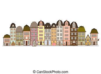europa, rua, antigas, vetorial, europeu