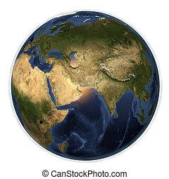 europa, ruimte, het tonen, afrika, schiereiland, planeet, india, arabisch, aarde, china