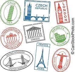 europa, sätta, attractions., länder, stämpel, årgång, resa, resar, vykort, frimärken, vektor, arkitektur, vykort, klistermärken, post