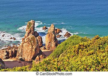 europa, só, cabo, pitoresco, costa, ponto, -, portugal, pedras, maioria, atlântico, ocidental, ocean., da, praia, roca