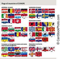 europa, set, paesi, grande, bandiera, bandiere