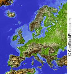 europa, skuggat, reliefkarta