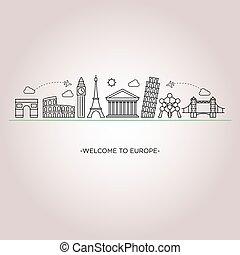 europa, skyline, linha, estilo