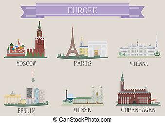 europa, stad, symbool.