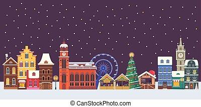europa, stadt, banner, weihnachten