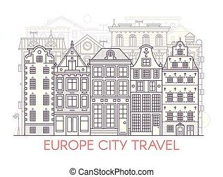 europa, stadt, linie, landschaftsbild