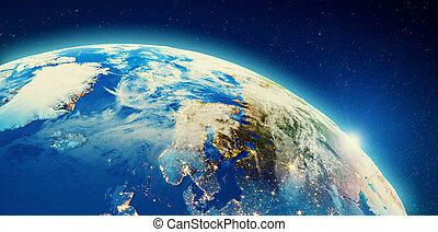 europa, stadt, nord, wolkenhimmel, lichter