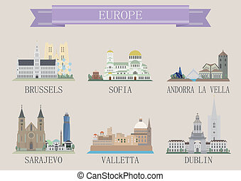 europa, stadt, symbol.
