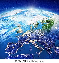 europa, stadt zündet, länder, satellitenaufnahmen