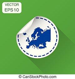 europa, sticker, kaart, icon., handel concept, europa, etiket, pictogram., vector, illustratie, op, groene achtergrond, met, lang, shadow.