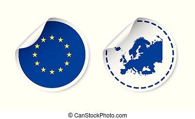 europa, sticker, met, vlag, en, map., europese unie, etiket, ronde, label, met, country., vector, illustratie, op wit, achtergrond.