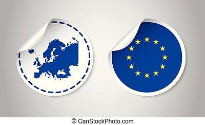 europa, sticker, met, vlag, en, map., europese unie, etiket, ronde, label, met, country., vector, illustratie, op, grijs, achtergrond.
