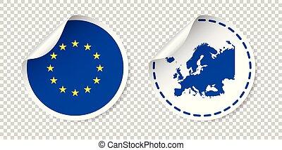 europa, sticker, met, vlag, en, map., europese unie, etiket, ronde, label, met, country., vector, illustratie, op, vrijstaand, achtergrond.