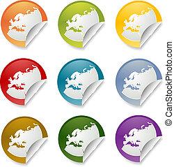 europa, sticker, ronde